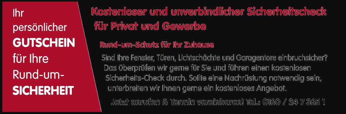 Sicherheitscheck-Gutschein Sicherheitstechnik Foitzik